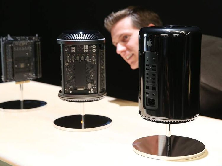 An attendee looks at the new Mac Pro