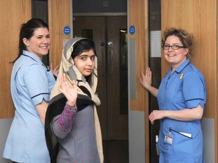 Malala Yousafzai leaving Queen Elizabeth Hospital