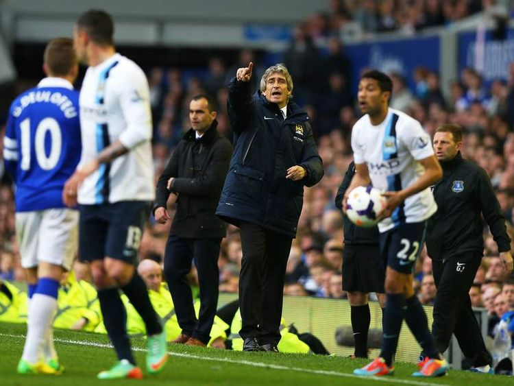 Manchester City Manager Manuel Pellegrini reacts during the Barclays Premier League match between Everton and Manchester City at Goodison Park
