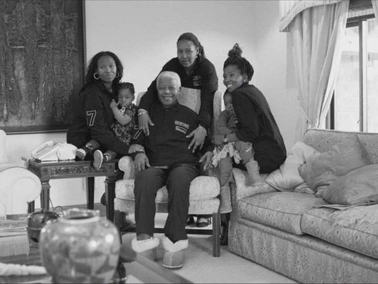 Nelson Mandela with his family