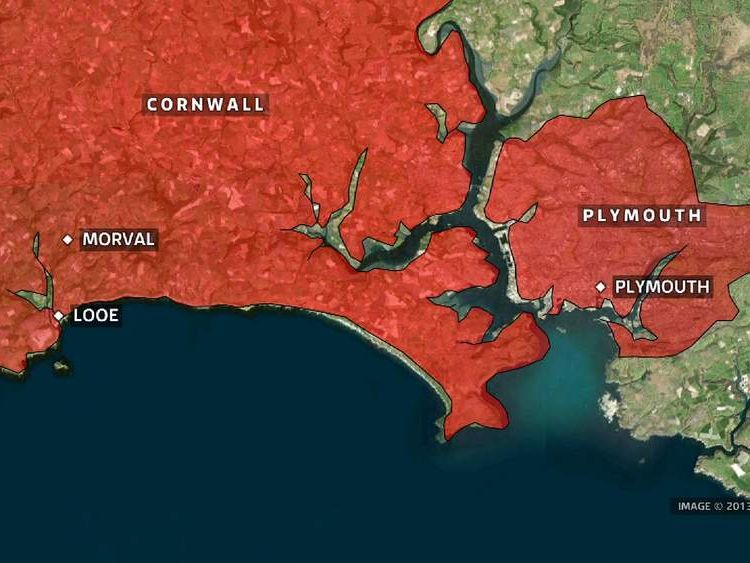 Cornwall coach crash map