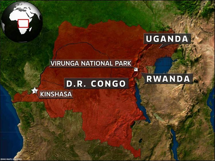 Map of DR Congo showing Virunga National Park