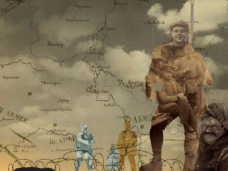 A map with a photograph of a soldier