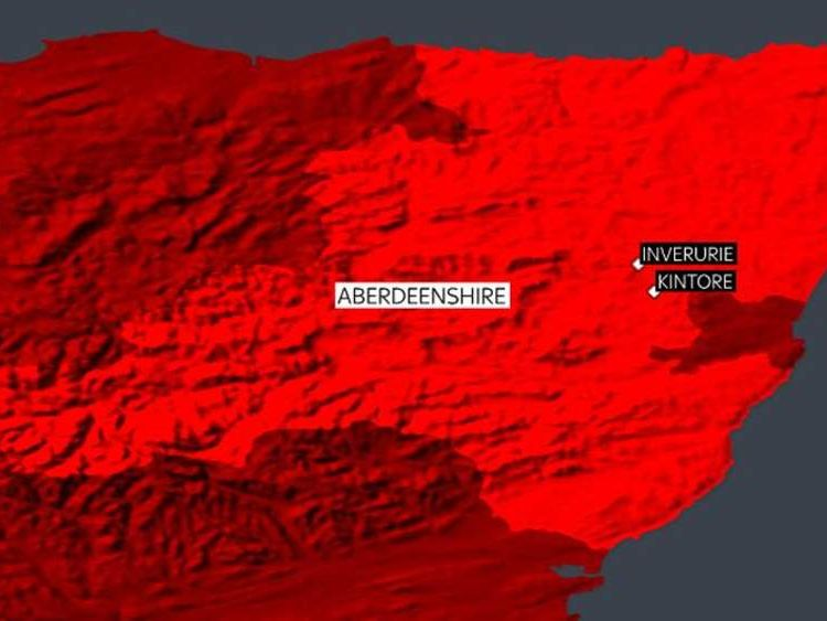 Map of areas affected by flooding in Aberdeenshire, Scotland