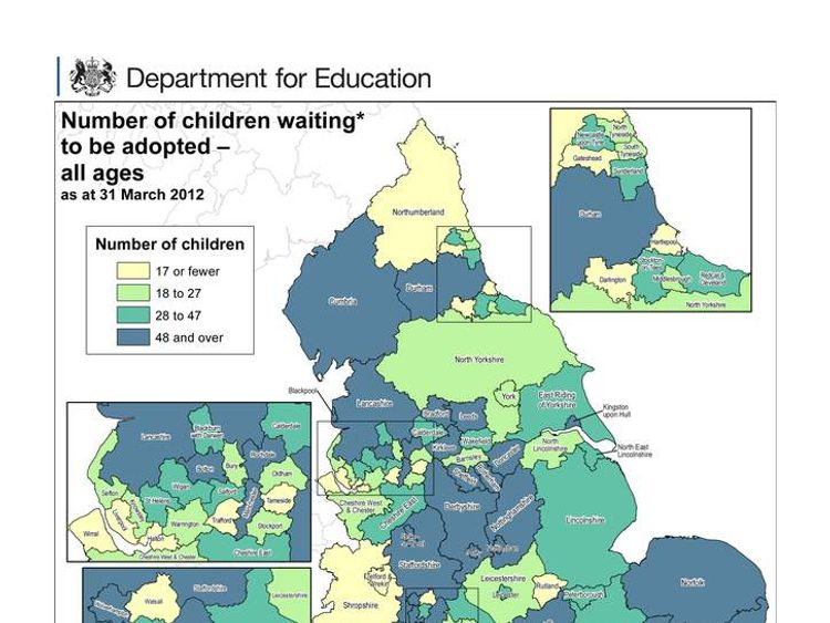 A map from the Department for Education shows the areas where most children are waiting to be adopted.