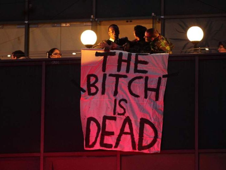 A banner hangs from the Ritzy Cinema in Brixton after Margaret Thatcher's death