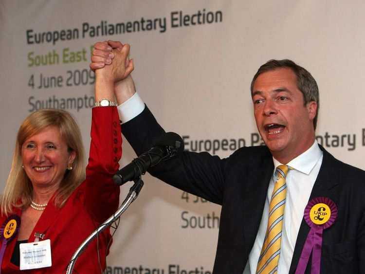 Marta Andreasen with Nigel Farage