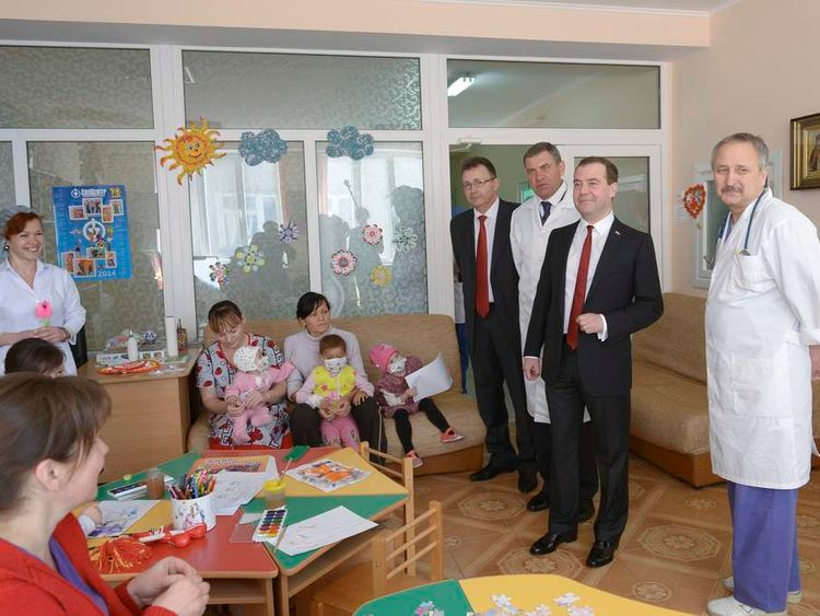 Dmitry Medvedev visits a children's hospital in the Crimean city of Simferopol