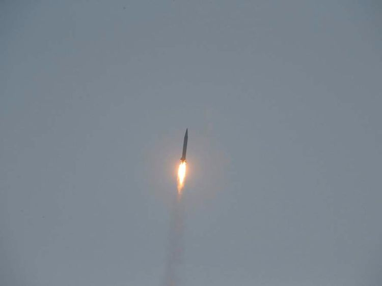 A tactical rocket lifts off during a firing drill of the KPA Strategic Force in this undated photo released by KCNA