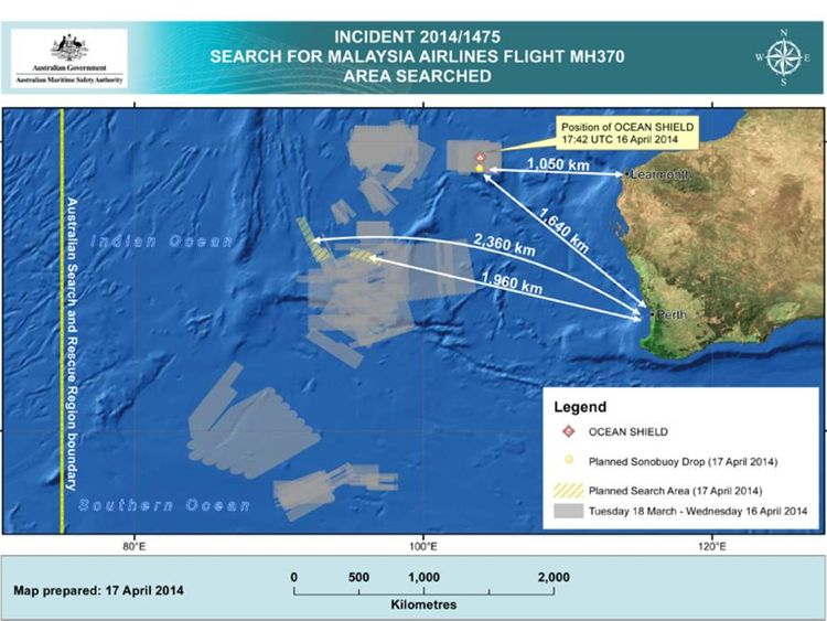 The search area for missing Malaysia Airlines flight MH370 on April 17