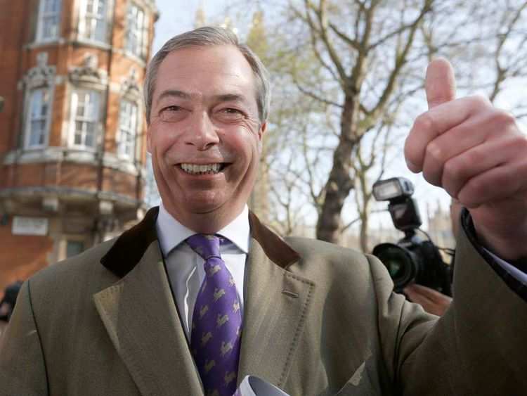 Nigel Farage arrives at Milbank studios in London