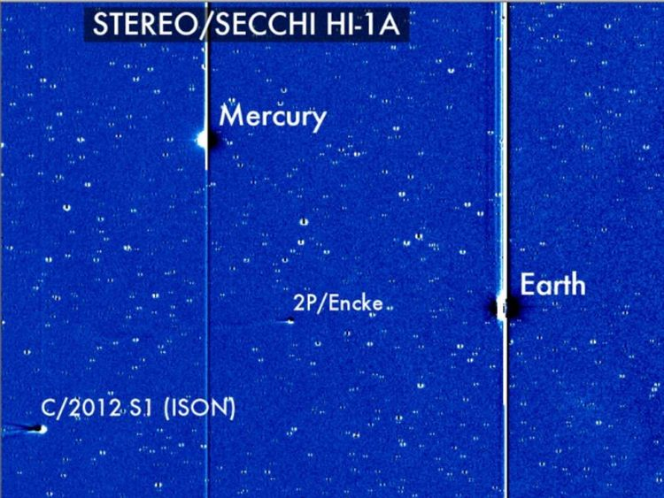 A picture taken from a space-based observatory by Nasa of Ison approaching Earth.