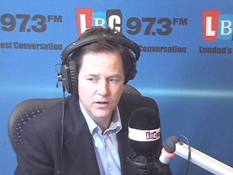 Deputy Prime Minister Nick Clegg MP holds weekly radio phone-in