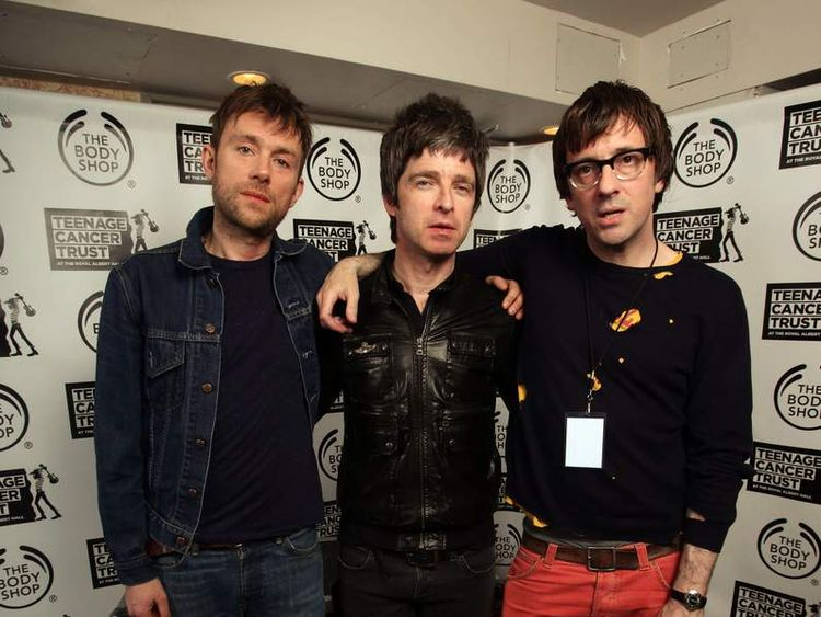 Damon Albarn, Noel Gallagher and Graham Coxon backstage at the Teenage Cancer Trust gig