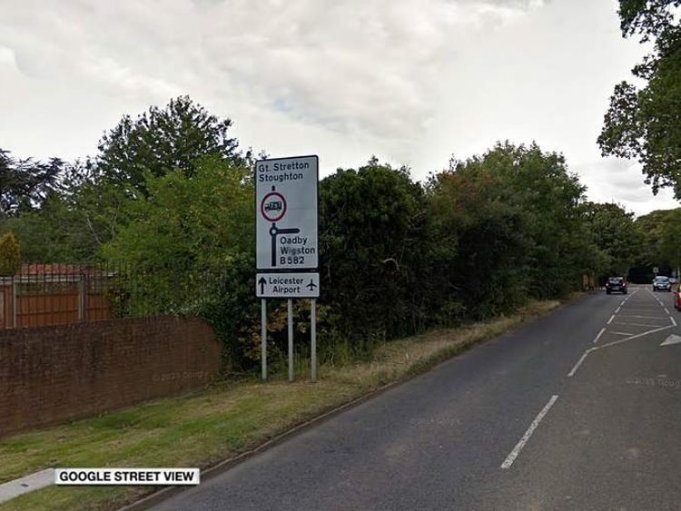 Road in Oadby where Iain Lawrence deliberately crashed his car to kill his wife