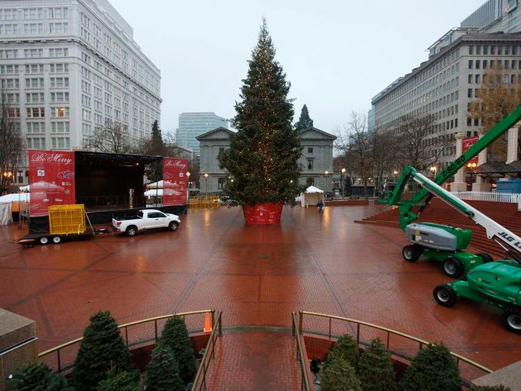 The Christmas tree, target of Somali-born Osman Mohamud, is seen in Pioneer Courthouse Square in Portland