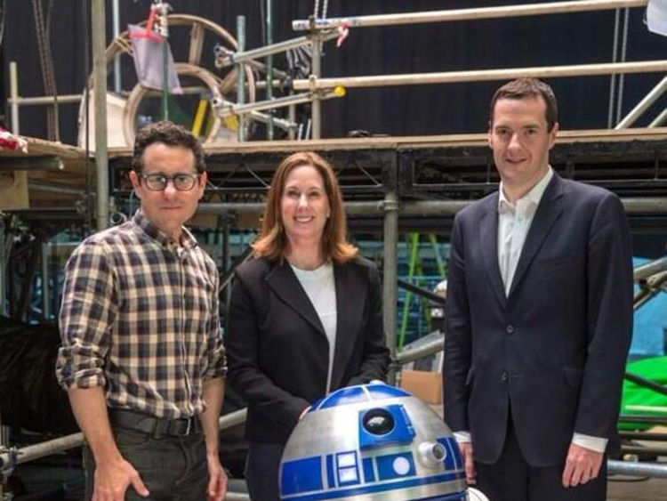 The Chancellor George Osborne meets Star Wars director J.J Abrams and Lucasfilm's Kathy Kennedy at Pinewood Studios