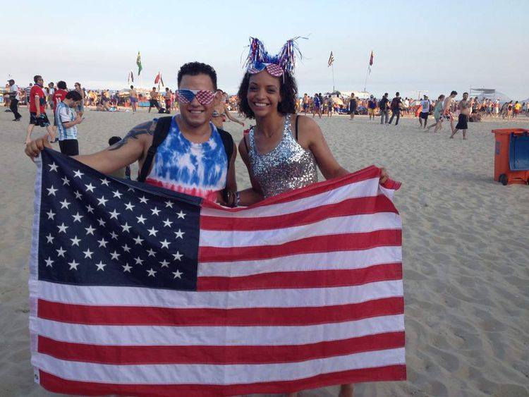 USA football fans at World Cup in Rio, Brazil