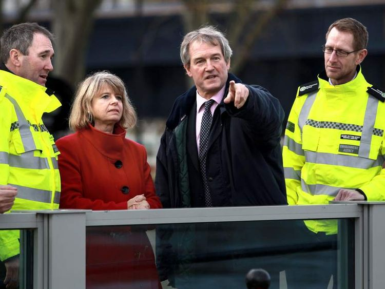 Environment Secretary Owen Paterson visits flood defences at Upton upon Severn, Worcestershire.