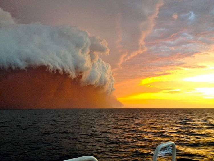 Dust storm off the coast of Onslow, western Australia
