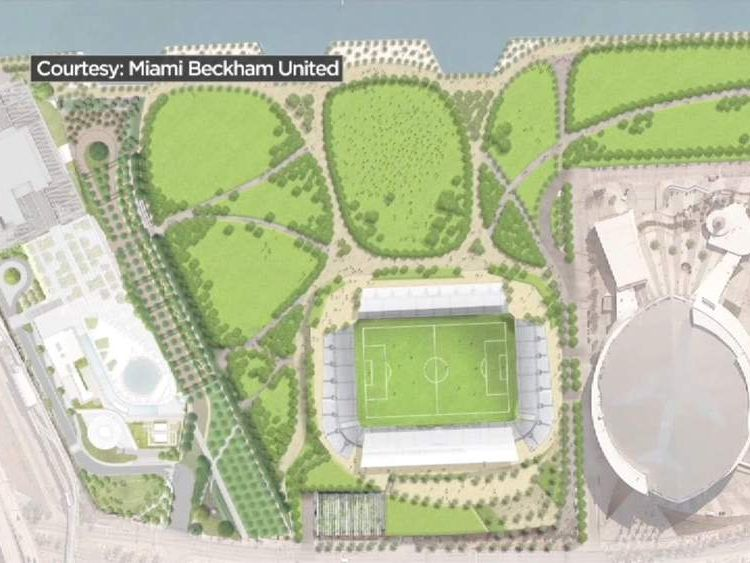 A plan of the proposed stadium next to the American Airlines Arena