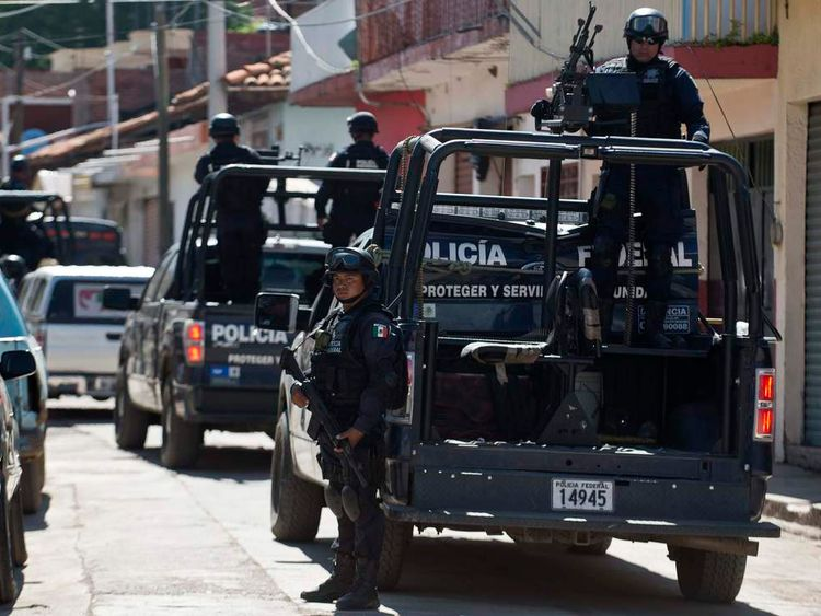 Police on patrol in Michoacan state