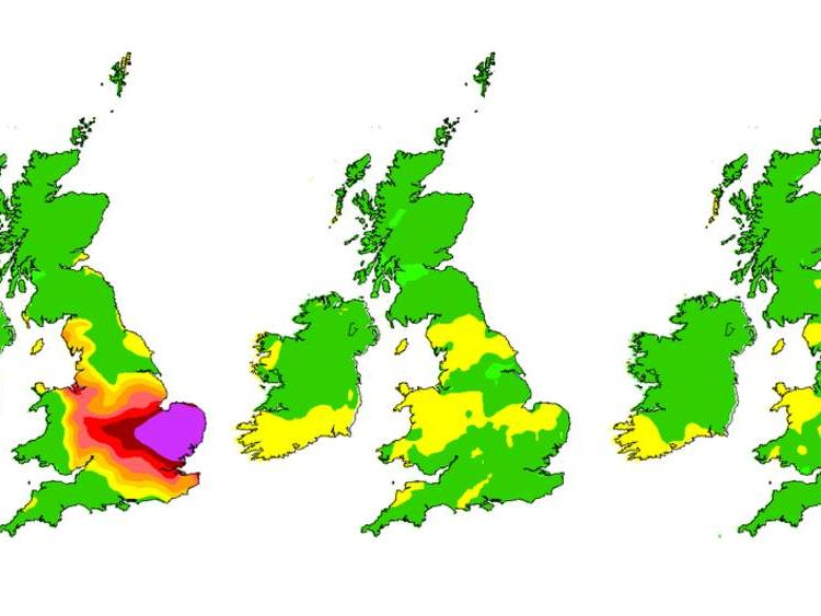 Predicted air pollution in the UK for April 3, 4 and 5. Pic: Defra