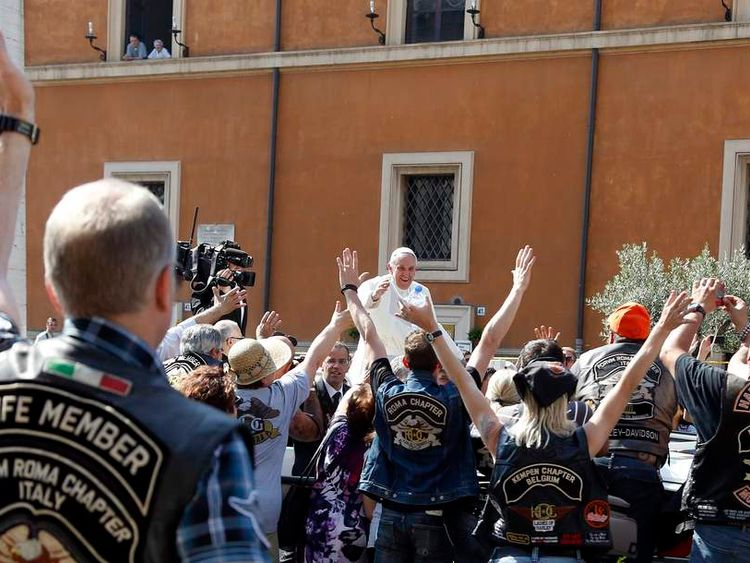 Pope Francis blesses a group of Harley Davidson bikers in Rome