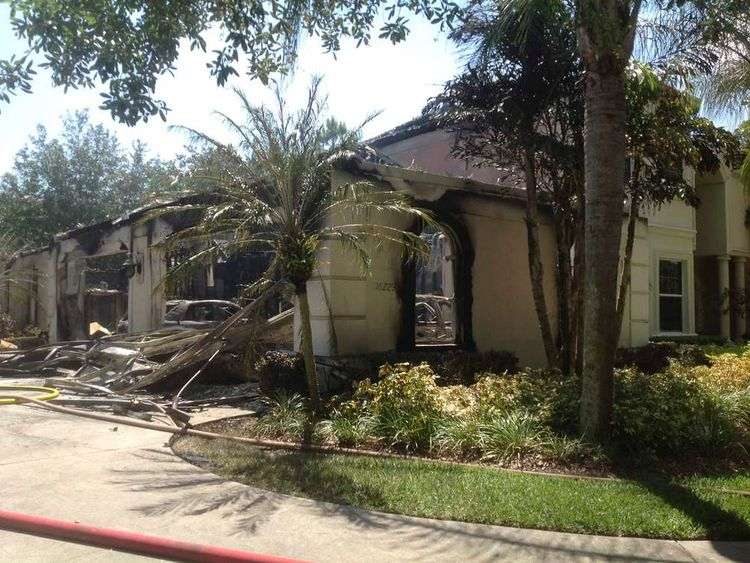 A house owned by former tennis pro James Blake, after a fire in Tampa, Florida