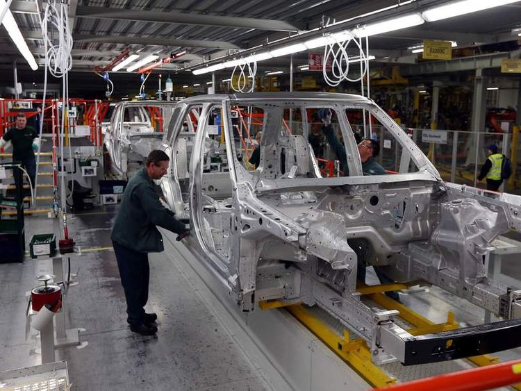 File photo dated 07/12/12 of aluminium bodied Range Rovers in production at the Jaguar Land Rover (JLR) plant in Solihull