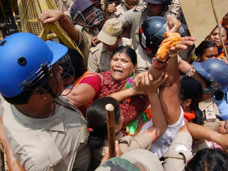 The protesters were stopped by police from moving towards office of Yadav