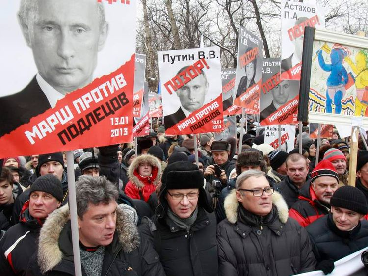 Opposition leaders take part in a protest march in Moscow