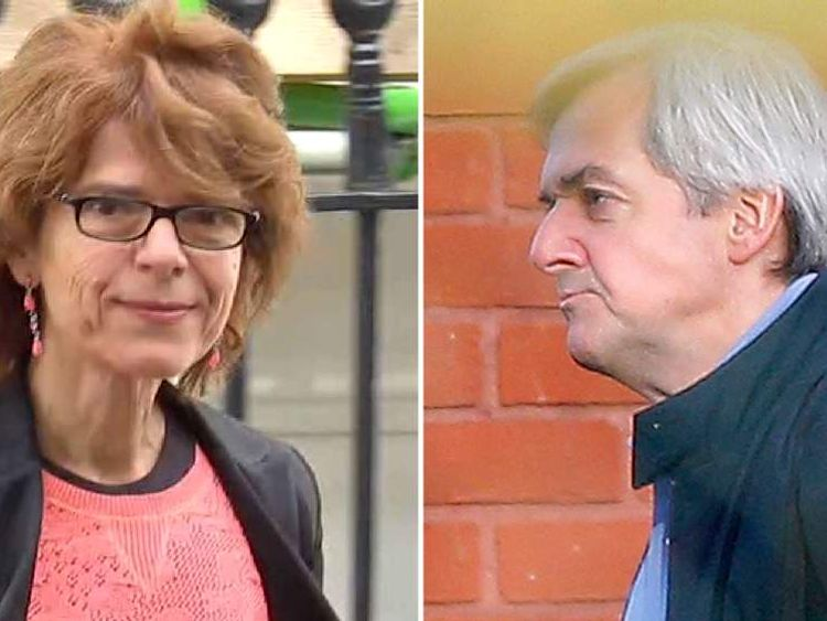 Composite of Vicky Pryce and Chris Huhne who were both released from prison today