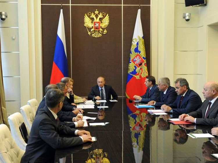 President Vladimir Putin chairs a meeting of Russia's Security Council