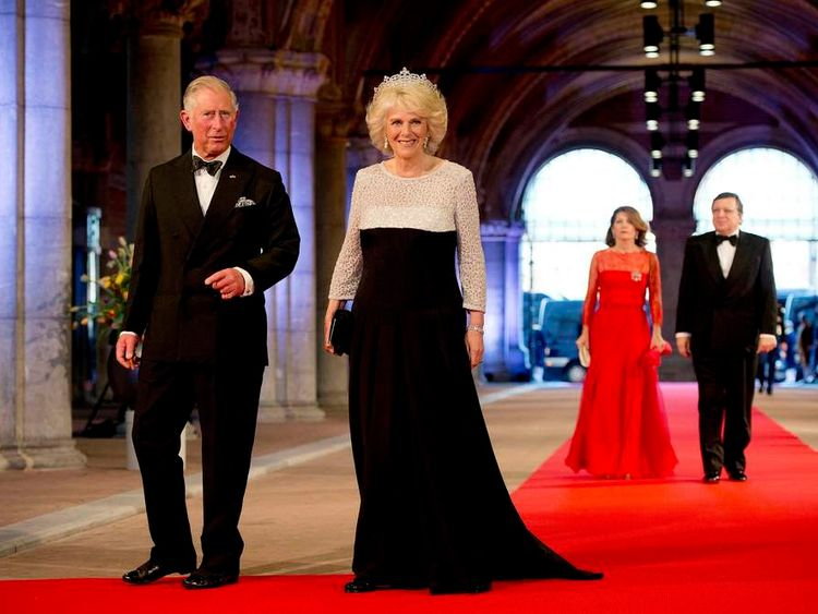 Britain's Prince Charles and his wife Camilla, Duchess of Cornwall arrive at a gala dinner at the Rijksmuseum in Amsterdam
