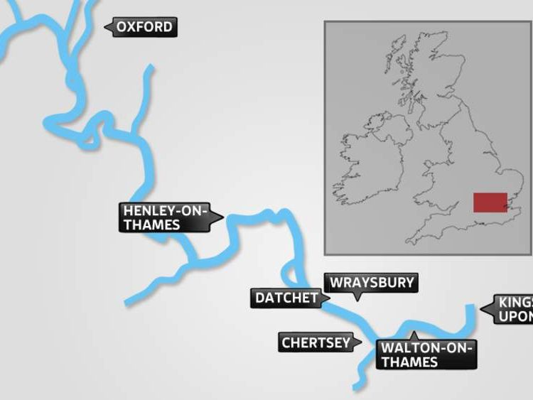 A map showing at-risk locations along the River Thames