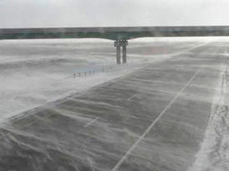 Snow blows across South Dakota highway
