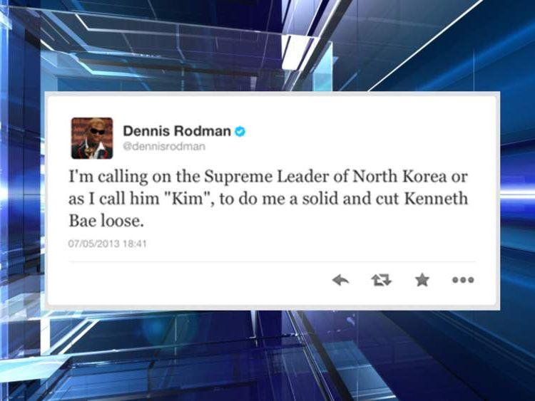 Dennis Rodman's tweeted request to Kim Jong Un