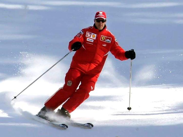 Ferrari's Formula One driver Schumacher skis during his team's winter retreat in Madonna Di Campiglio