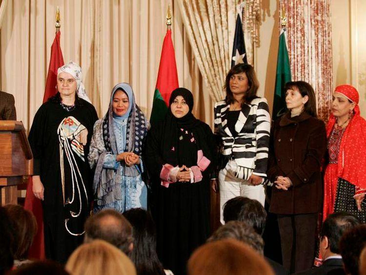 US Secretary of State Condoleezza Rice speaks during the International Women of Courage award ceremony in Washington