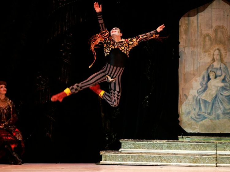 """Bolshoi soloist Filin dances during a performance of Tchaikovsky's """"Swan Lake"""" with the State Classic Ballet Theatre of Russia at the Mediterranean Conference Centre in Valletta"""