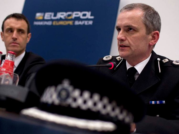 "Davis of CEOP and Director of Europol Wainwright outline details of arrests during ""Operation Rescue"" linked to a global child abuse network during a news conference"