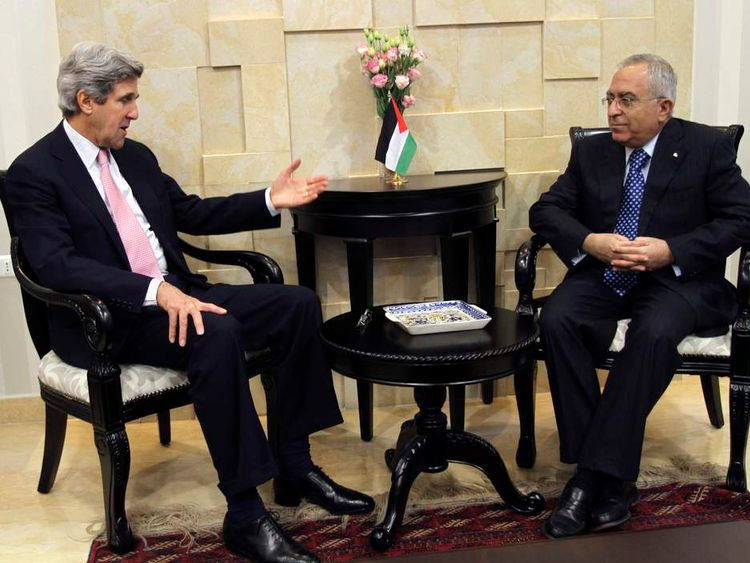 Salam Fayyad and John Kerry