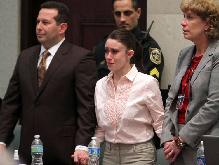 Casey Anthony, flanked by her attorneys Jose Baez and Dorothy Clay Sims, reacts to being found not guilty on first degree murder charges in the death of her daughter Caylee at the Orange County Courthouse in Orlando