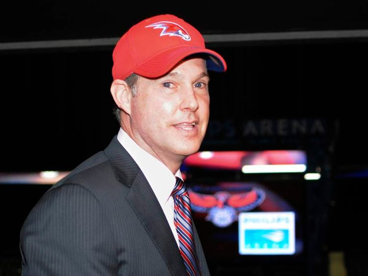 Alex Meruelo founder of the Meruelo Group, leaves a news conference after it was announced the group had reached an agreement on the majority stake ownership of the Atlanta Hawks in Atlanta