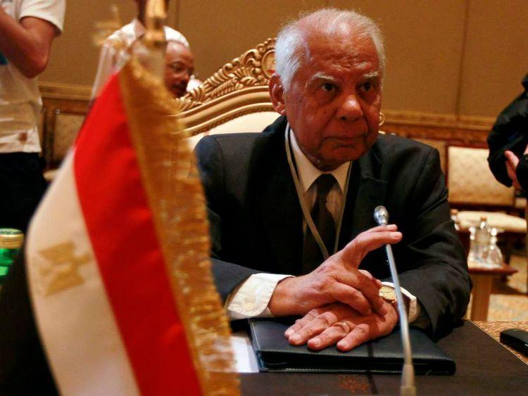 Hazem el Beblawi in a finance ministers meeting in 2011