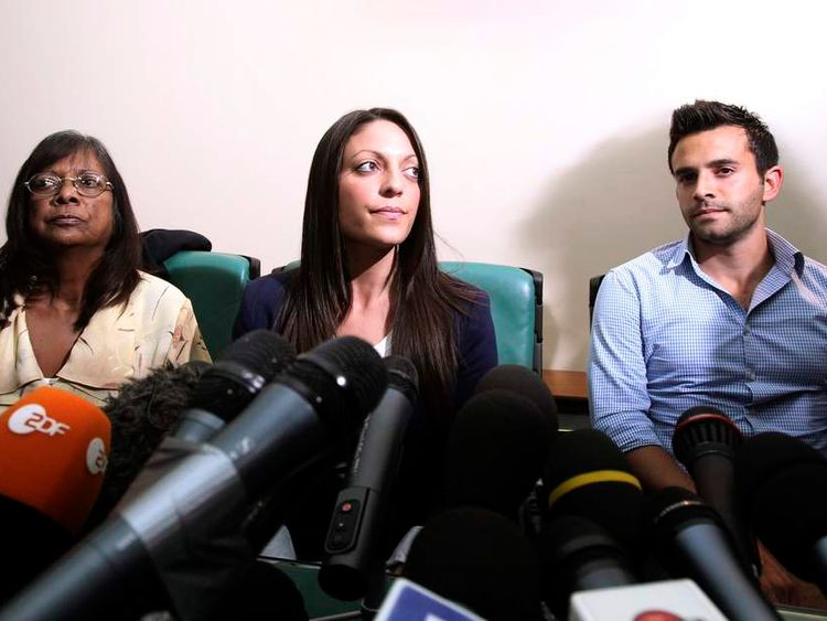 British student Meredith Kercher's family members attend a news conference in Perugia
