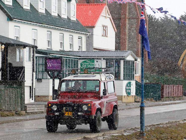 Snowfall in Stanley, Falkland Islands