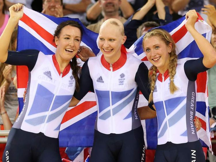 Britain's Dani King (L), Laura Trott (R) and Joanna Rowsell