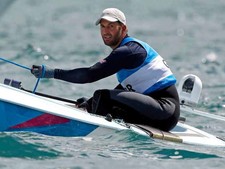 Britain's Ben Ainslie competes in the men's Finn class one person dinghy (heavyweight) medal race at the London 2012 Olympic Games